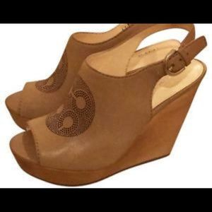 Coach Jade Wooden Wedge Sandal. EUC.